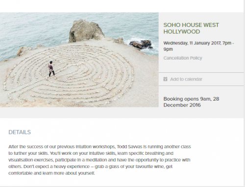 EVENTS: Soho West Hollywood – Cultivate Your Intuition